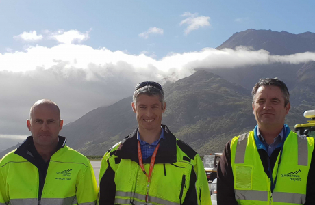 Doug McKay Rescue Fire Crew Chief Dan Kirkman Airfield Compliance Manager with Glenn Knipe visiting from Invercargill Airport for Airport Safety Week 2018