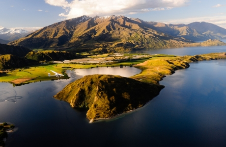 Mountain Flying over Paddock Bay Lake Wanaka