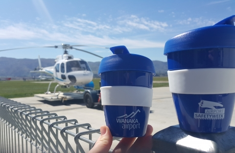 The keep cup giveaways at Wanaka Airport against a perfect Spring Wanaka day